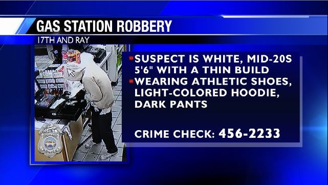 Armed man robs gas station at 17th and Ray