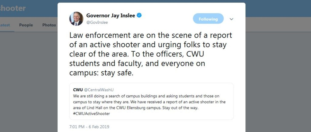 Washington Governor Jay Inslee responds to CWU active shooter report
