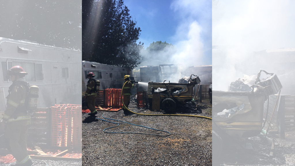 Three trailers destroyed in fire at Cougar Campers RV Park