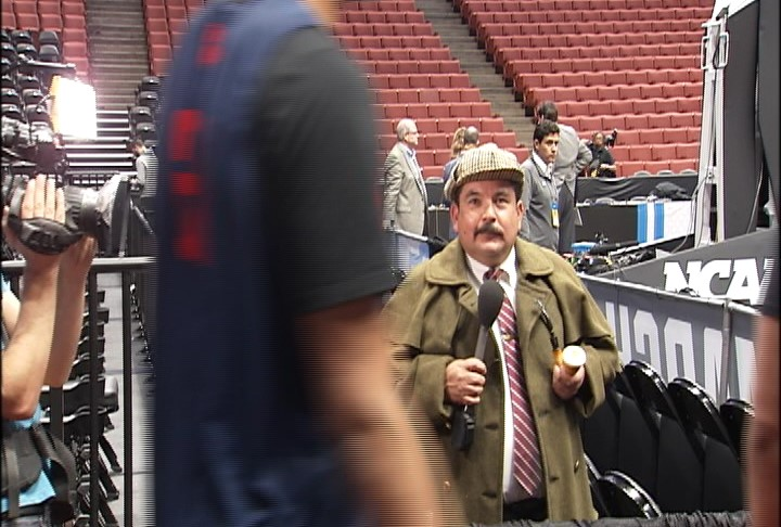 Guillermo from Jimmy Kimmel interviews Gonzaga players in locker room Wednesday