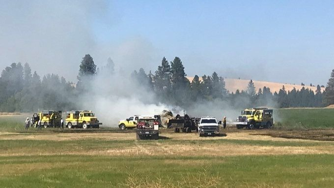 Hay truck catches fire near I-90 and Granite Lake Road in Cheney