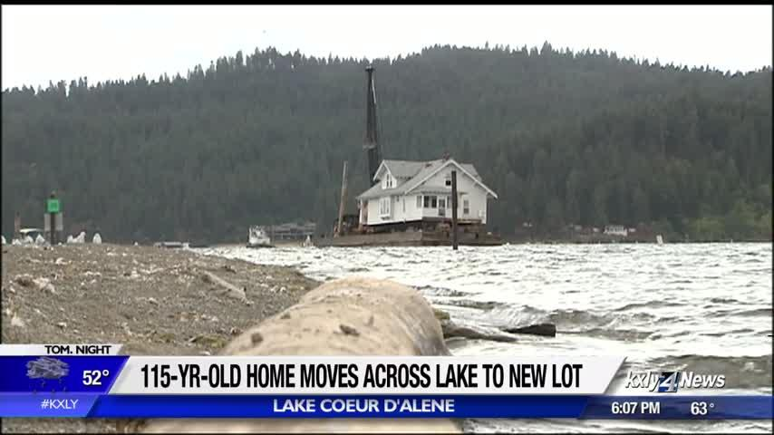 Historic Coeur d'Alene home makes move across lake