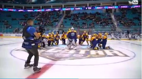 Hockey player does backpack kid's moves in an epic team dance off