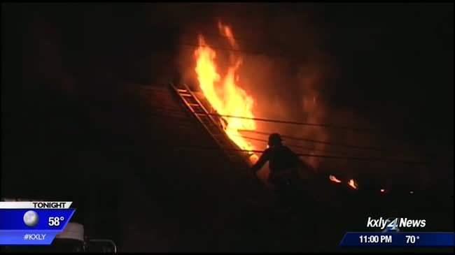 House engulfed in flames in north Spokane