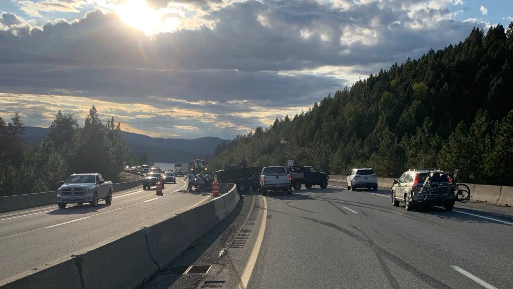 Trailer crash on I-90 backs up traffic near CDA Wednesday night