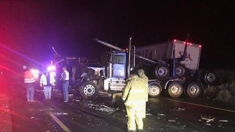 I-90 between Moses Lake and Ritzville reopens following semi crashes, fuel spill