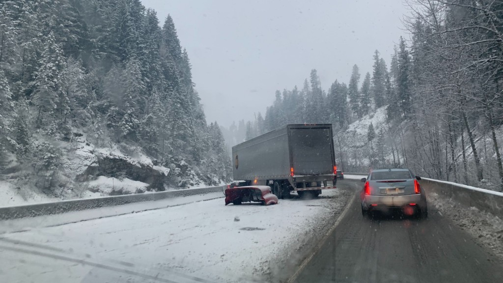 Semi crash partially blocking westbound I-90 between Crossroad and ID 97 exits