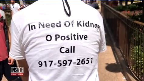 Man finds kidney donor after advertising on t-shirt at Disney World