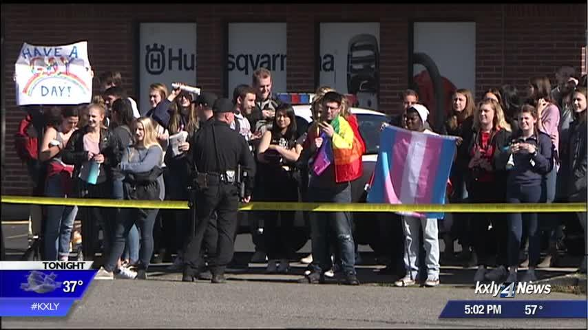 Large counter-protests assemble as Westboro Baptist Church pickets downtown Spokane