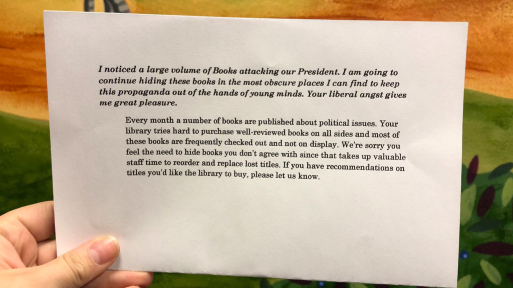 'Your liberal angst gives me great pleasure': Left-leaning books being hidden at CDA library