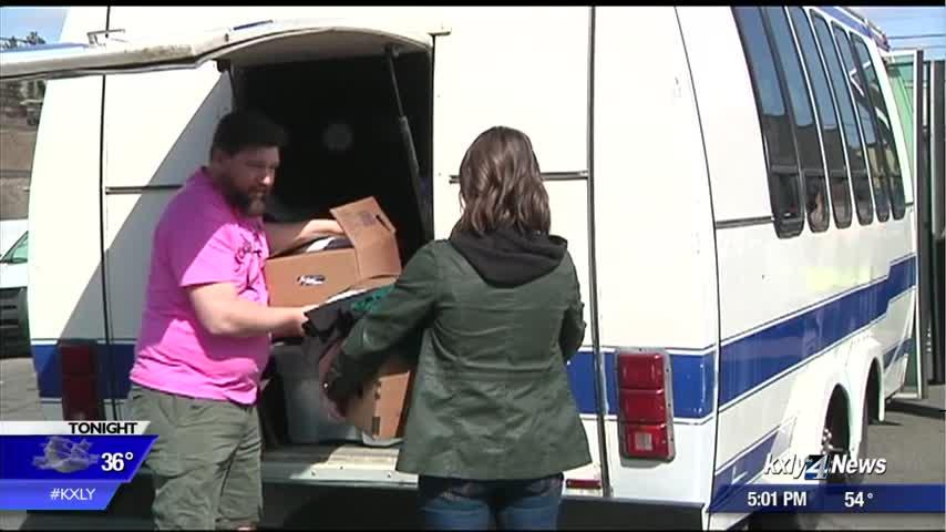 Local groups deliver 600 pounds of donated clothing to Cannon warming shelter