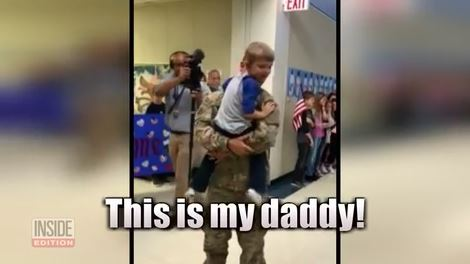 Military dad surprises son at school after being deployed in Middle East
