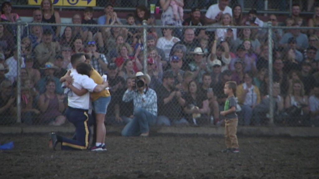 Military father surprises his children at the North Idaho State Fair