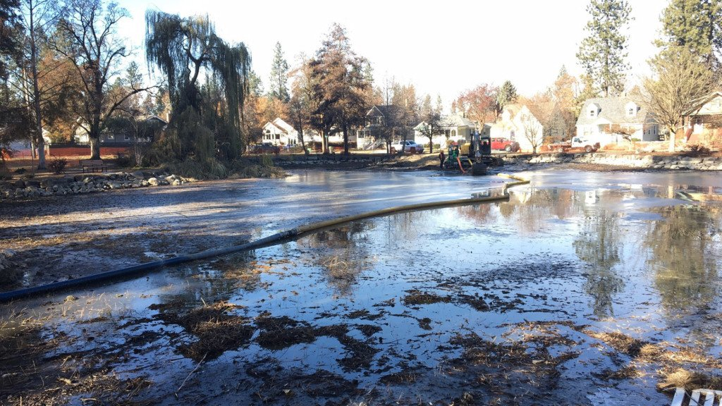 Manito Mirror Pond restoration project underway; water fully drained