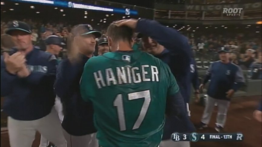 Haniger homers in 13th to lift Mariners over Rays 4-3