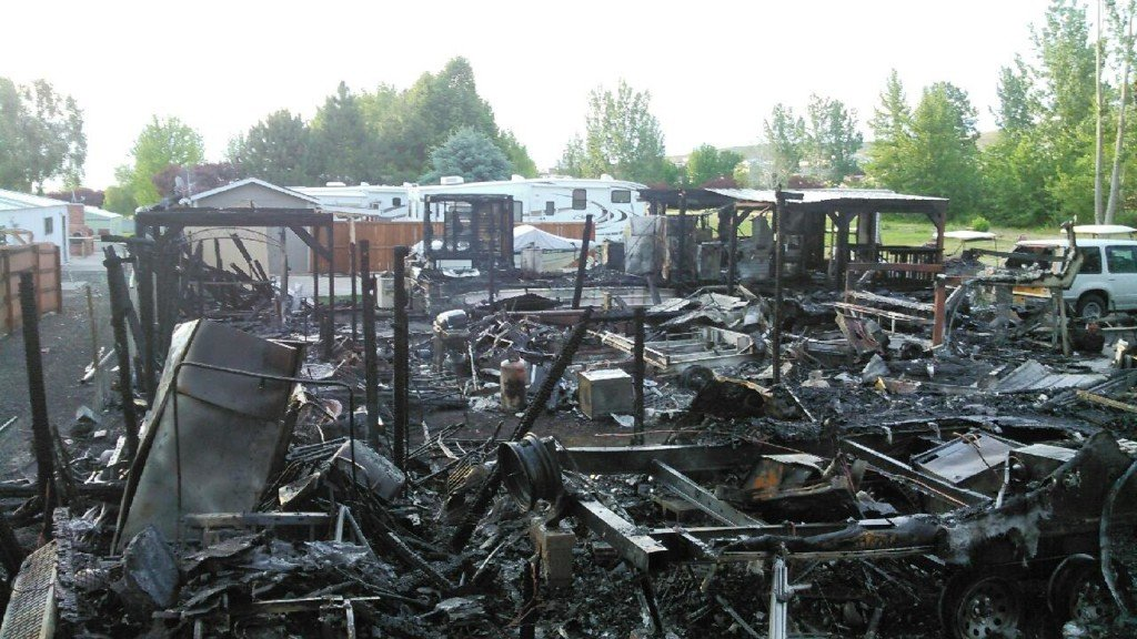 Fire south of Moses Lake destroys two structures and RVs