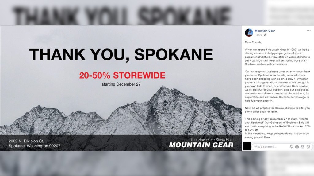 Local outdoor retailer Mountain Gear to close in January, citing online competition