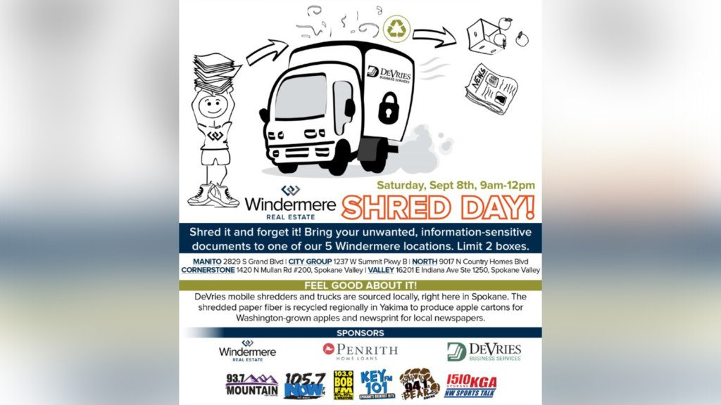 Windermere Real Estate to host city-wide Shred Day in Spokane