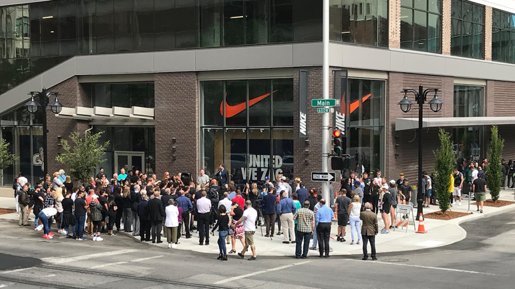 Eager shoppers invade Nike Factory store