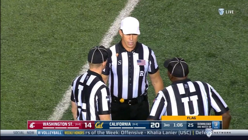 "Pac12 referee suspended after ""mechanics error"" in Washington State loss to Cal"