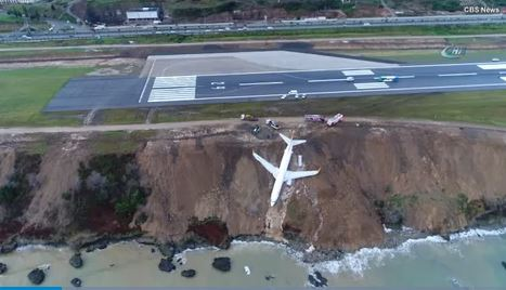 Passengers miraculously avoid harm after plane skids off cliff