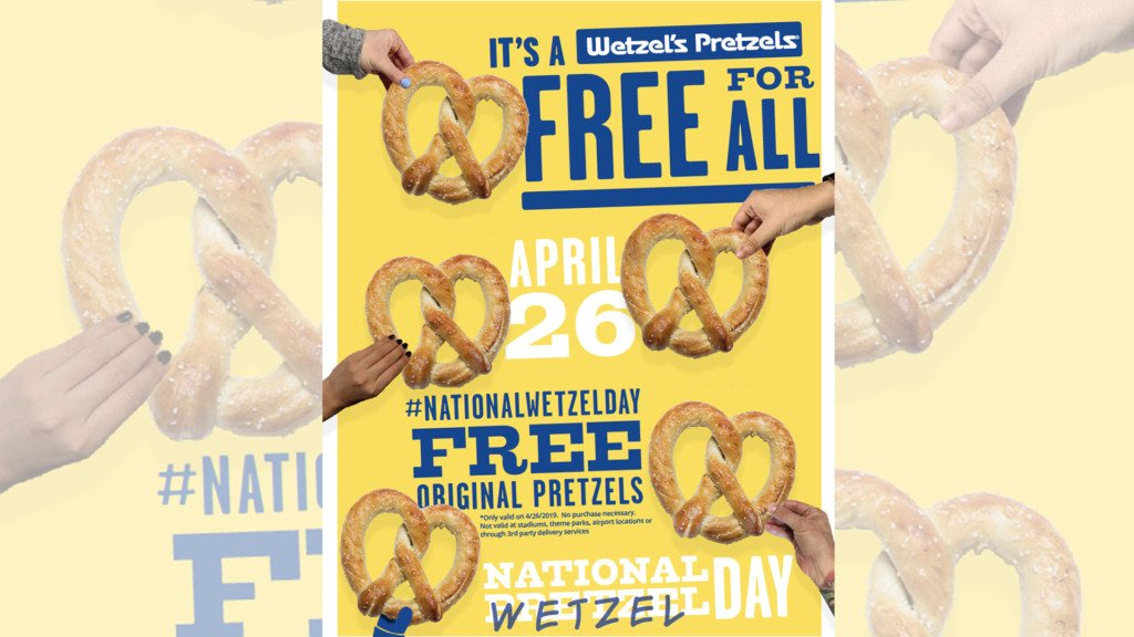 Snag a free pretzel at Wetzel's Pretzels Friday