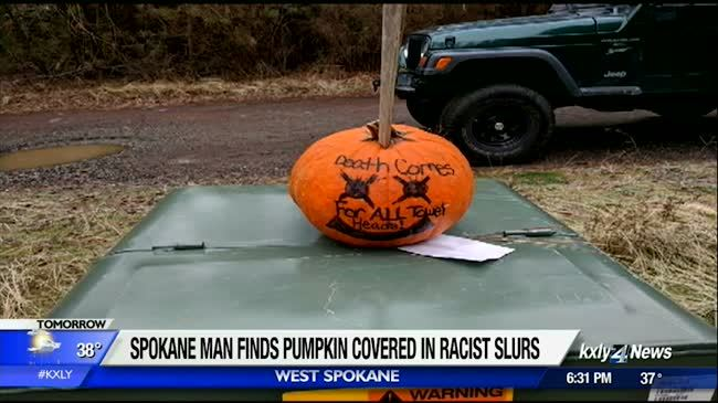 Pumpkin covered in racist messages found in Spokane neighborhood