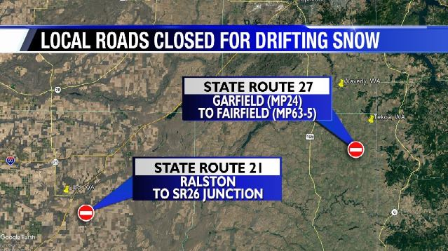 SR 27, 21 remain closed for drifting snow
