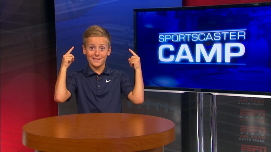 Henry hangs out at Sportscaster Camp