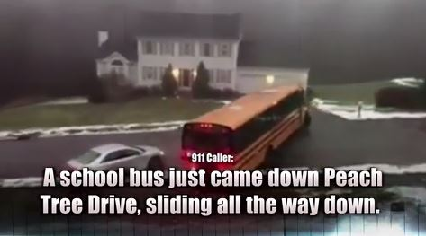 School bus fill of kids loses control after driving over black ice