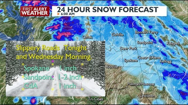 Snow way! About an inch of snow on the way into Spokane tonight