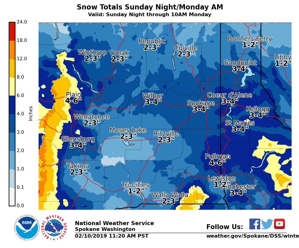 Another foot of snow is possible in Spokane this week