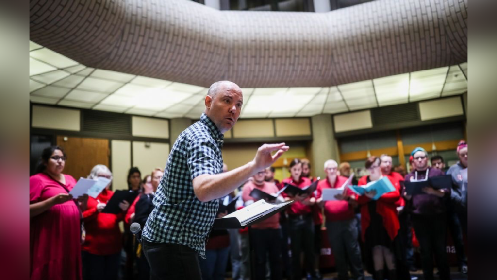 Spectrum Singers sing in protest, hoping to commemorate historic social movements