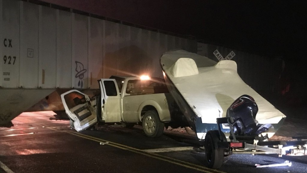 Truck collides with train in W. Spokane County