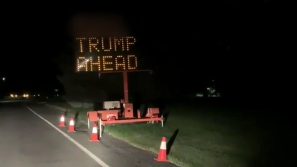 Liberty Lake traffic sign hacked to display messages in support of, against president