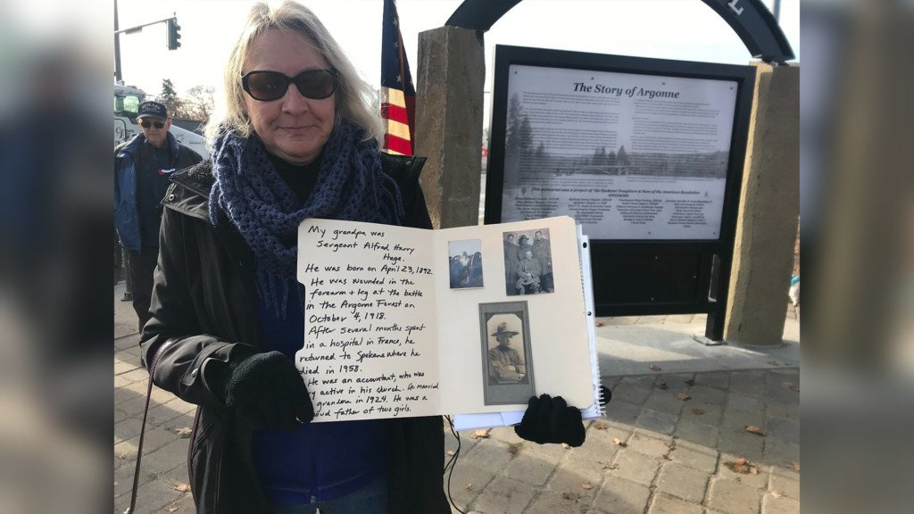 Spokane woman remembers grandfather's service during WWI memorial dedication