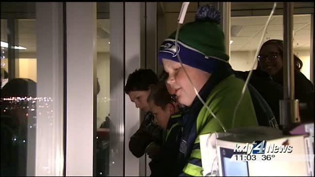 Kids at Sacred Heart Children's Hospital react to lights in Cowley Park