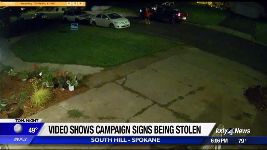WATCH: Campaign signs stolen on South Hill