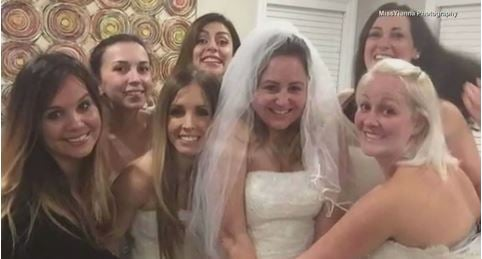 Women break out wedding dresses for friend's divorce party