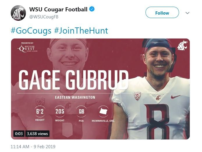 WSU to add quarterback transfer Gage Gubrud
