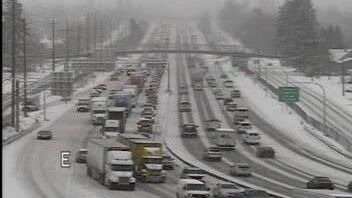 A lane of westbound I90 is blocked at Hamilton