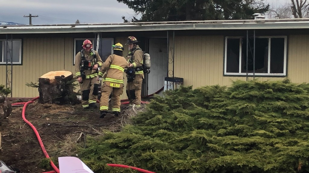 Firefighters put out flames at a mobile home park in Spokane Valley.