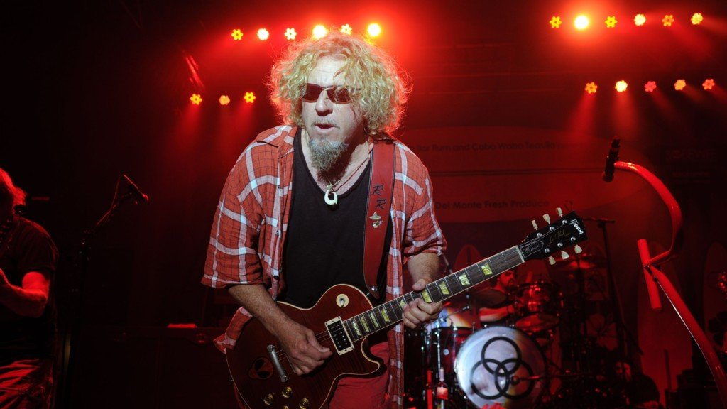 Van Halen's Sammy Hagar plays guitar