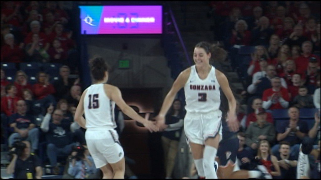Gonzaga's Jenn Wirth high-fives Jessie Loera in win over Pepperdine