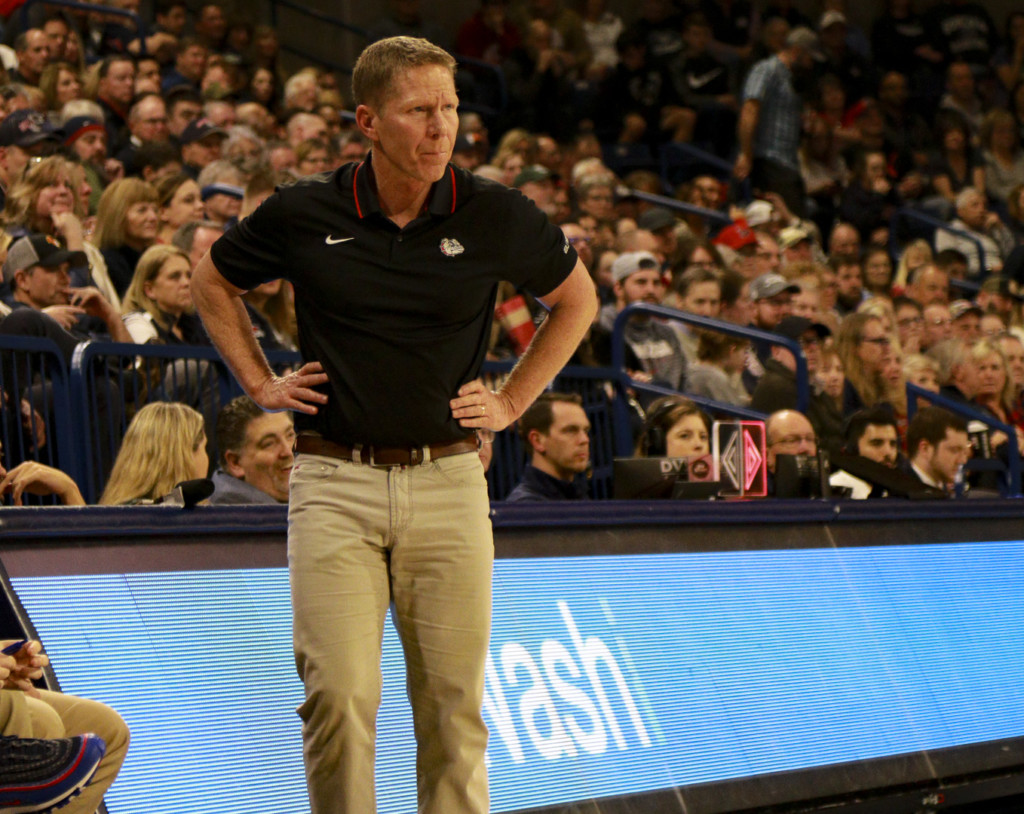 Gonzaga coach Mark Few keeps up the intensity as his team routs Pacific.