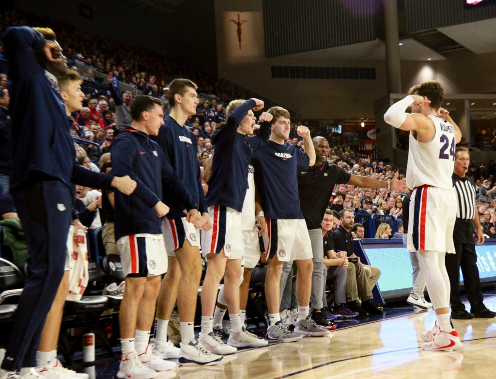 Gonzaga's Corey Kispert (24) celebrates a shot with his teammates.