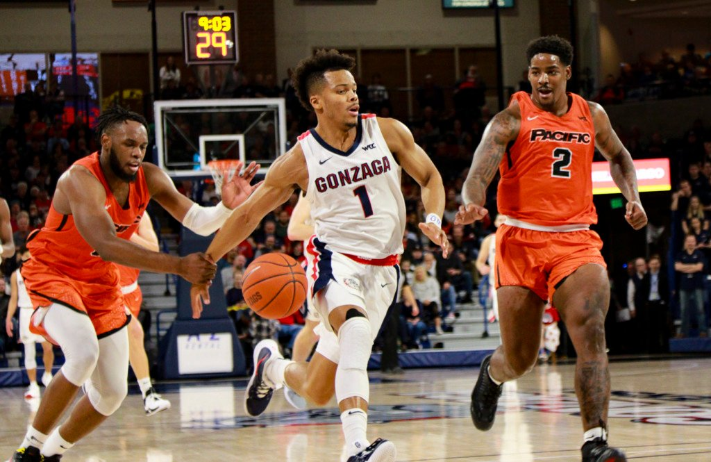 Pacific finds that the only way to stop Gonzaga's Admon Gilder is to grab him by the wrist.