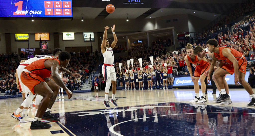 Gonzaga's Admon Gilder (1) drains the free throw against Pacific.