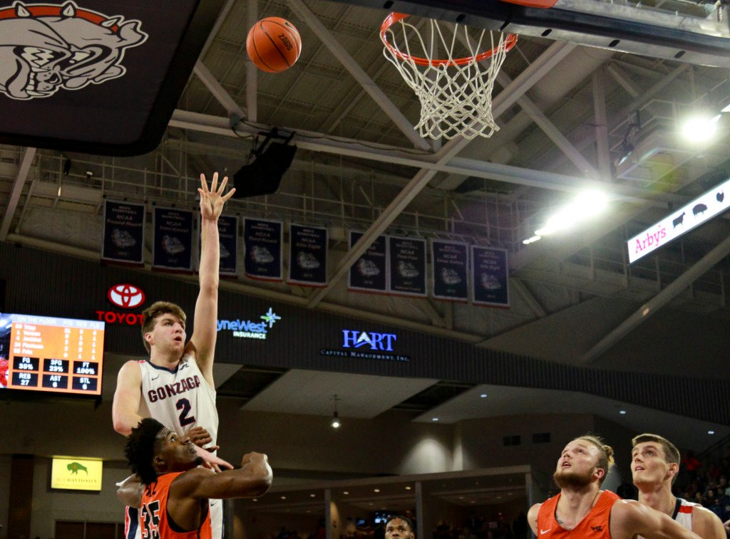 Gonzaga's Drew Timme rises above the crowd against Pacific.