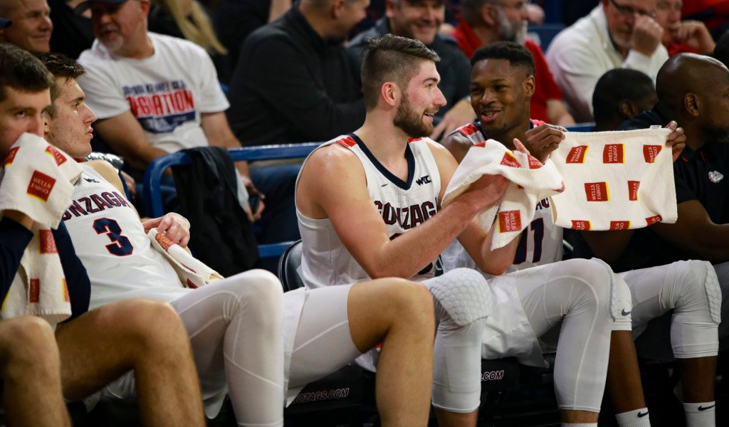 Gonzaga starters Filip Petrusev (3), Killian Tillie and Joel Ayayi (11) feeling pretty good about the game against Pacific.